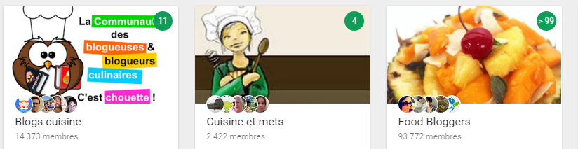 communities on Google+ gastronomy, the number circled in green indicate the posts published since my last visit yesterday!